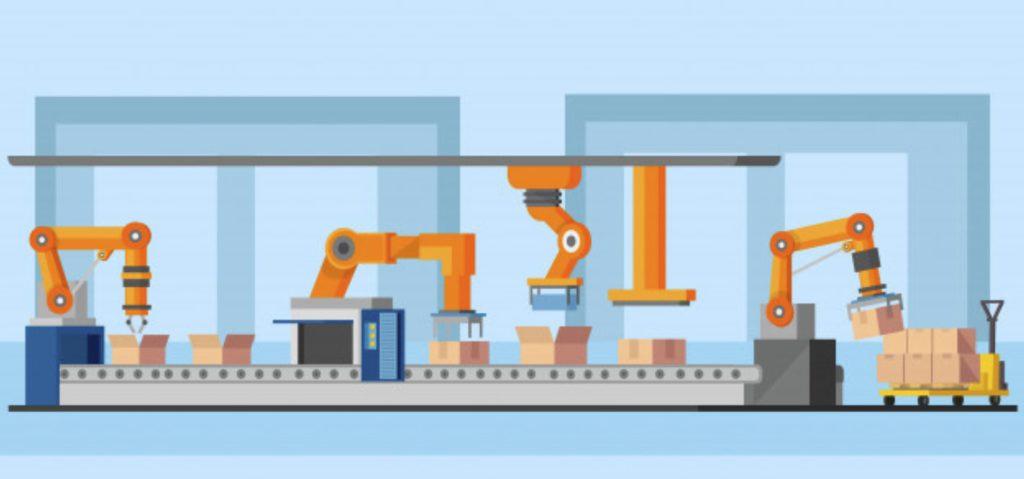 Принцип машинного обучения. Робот-манипулятор на производстве